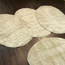 ROMANY WASHABLE TRAVELLERS MATS 4PCS SETS NON SLIP REGULAR SIZE LIGHT BEIGE OVAL